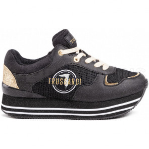 SNEAKERS IN PELLE LISCIA E TESSUTO 79A004739Y099999K299 TRUSSARDI JEANS