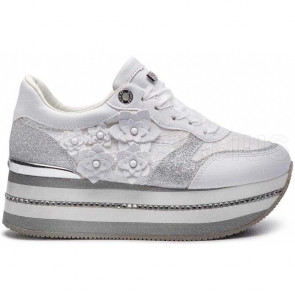 SNEAKERS IN TESSUTO PIZZO CON RIALZO TRENDY FL5HINLAC12BIANCO GUESS